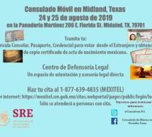 ESTE PRÓXIMO FIN DE SEMANA EL CONSULADO DE MÉXICO EN PRESIDIO ESTARÁ EN MIDLAND