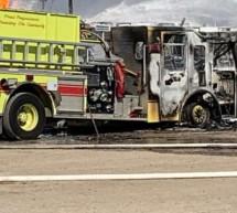 CAMIÓN DE BOMBEROS DE MIDLAND DESTRUIDO EN LA EXPLOSIÓN DE LA MAÑANA DEL JUEVES