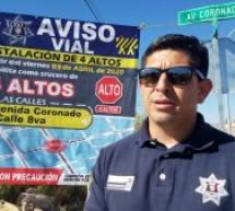INICIA POLICÍA VIAL TRABAJOS PARA LA COLOCACIÓN DE 4 ALTOS Y ¨TOPES¨ EN LA CALLE OCTAVA Y CORONADO.