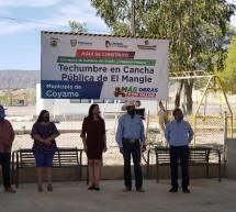 INAUGURAN CANCHA DE FÚTBOL RAPIDO EN COYAME Y TECHUMBRE EN EL MANGLE
