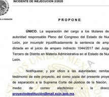 PROPONE TRIBUNAL DESTITUIR A LOS 42 DIPUTADOS DE NL
