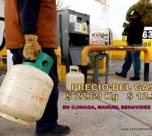ESTOS SON LOS PRECIOS DEL GAS EN OJINAGA, MANUEL BENAVIDES Y COYAME