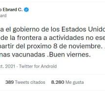 REAPERTURA DE FRONTERA MÉXICO-EU SERÁ EL 8 DE NOVIEMBRE: EBRARD